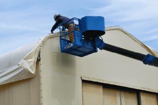 テント倉庫シートキャップ工法